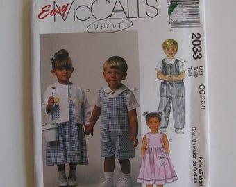 Children's Romper Pattern ,  McCalls Easy Pattern  Size 2,3,4  Dress, Jumper, Jacket