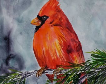 Cardinal I giclee print of watercolor bird painting