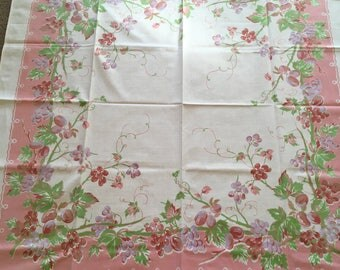Tablecloth, Fruit, Grapes or Plums, Pink Tones
