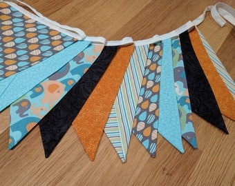 Elephant Theme Bunting, Banner, Photo Prop, Decoration,  Flag Garland. Gender Neutral, Elephants aqua orange charcoal