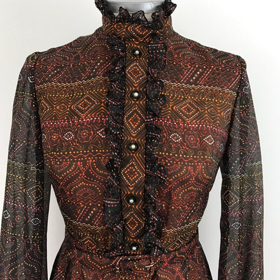 Vintage dress 1970s victoriana style brown orange historical re enactor UK 10 maxi dress festival style 70s boho party