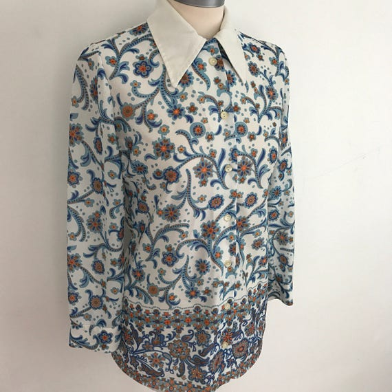 1970s blouse Mod shirt psychedelic border print UK 8 10 Northern Soul top scooter girl 70s dagger collar blue longline