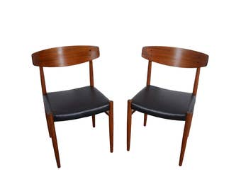 Four Teak Dining Chairs Black Leather Seats  Danish Modern A. M. 501 Made in Denmark
