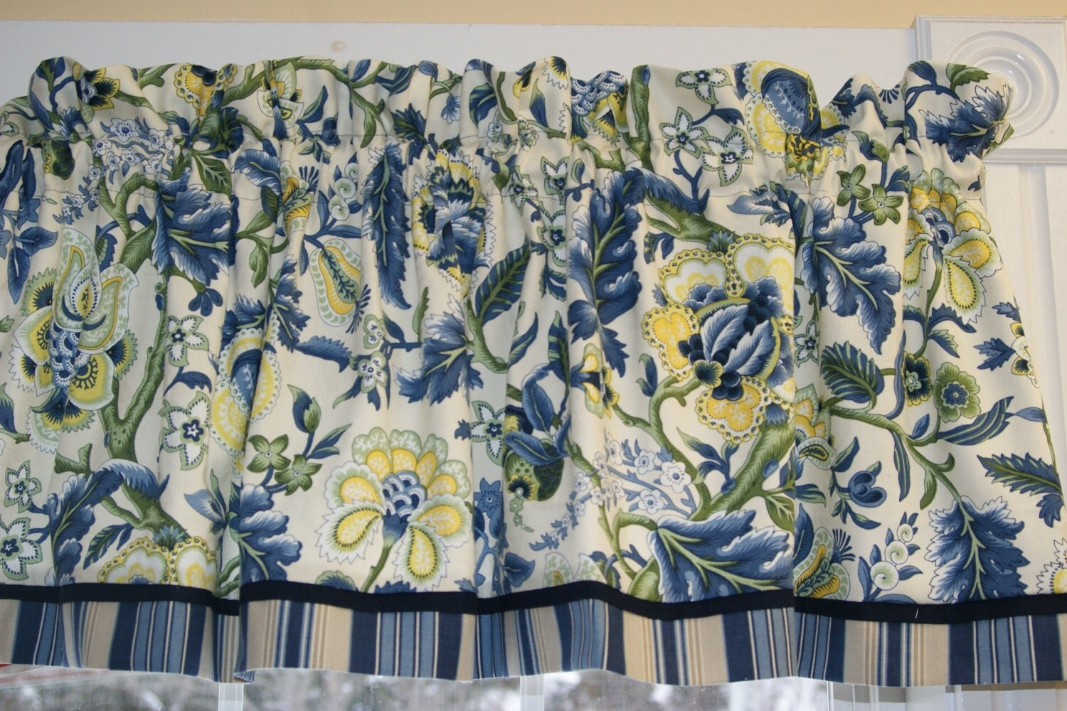 Imperial Dress Waverly Blue Cream Yellow Green Toile Valance