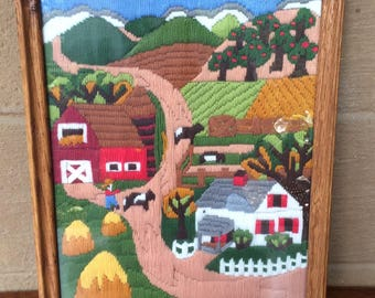 Vtg Farm Scene Embroidered Art, 15.25""
