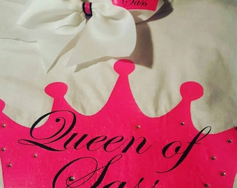 Queen of sass! cheerleading bow, tshirt or sports bra