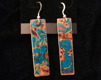 Panel Copper Earrings with Blue-Green Patina
