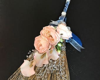 Wedding Broom with Blush English Cabbage Roses and Calla Lilies