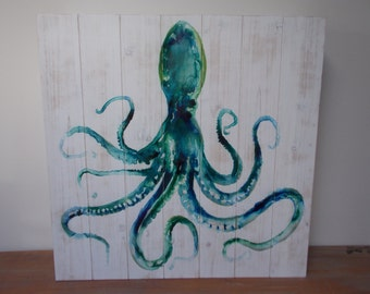OCTOPUS WALL CABINET .  Sold - Made to order - Solid Wood . . Medicine Cabinet .Turqouise . Coastal Decor . Whimsical . Unique.