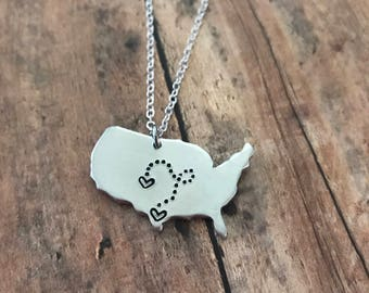 Custom Handstamped USA necklace, personalized stamped long distance necklace, heart over city dotted line jewelry, going away gift