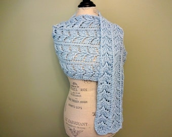 CLEARANCE - Blue Openwork Lace Shawl, Mother of the Bride, Wedding Shawl, Hand Knit Shawl, Bridal Shawl, Lace Shawl, Lace Wrap, Baby Blue