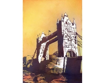 Painting of Tower Bridge- London, England.  Tower Bridge painting.  London, UK painting.  Tower Bridge artwork.  Watercolour painting London