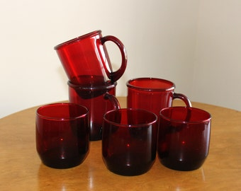 Discontinued Anchor Hocking Royal Ruby Red On The Rocks Glass and Arcoroc France Coffee/Tea  Mug