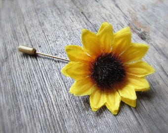 Sunflower Pin, Sunflower Brooch, Sunflower Boutonniere, Sunflower Lapel Pin, Sunflower Hat Pin, Sunflower Jewelry, Wedding Prom Boutonnieres