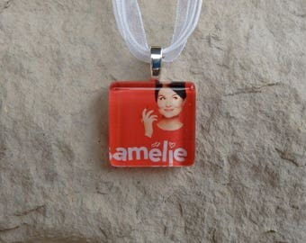 Broadway Musical Amelie Glass Pendant and Ribbon Necklace