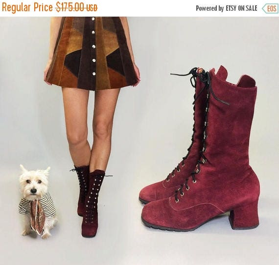 MAY SALE Vintage Deadstock PENNY Lane Ruby Purple Red Lace Up Grommet Suede Bohemian Witchy Boots || Size 5.5