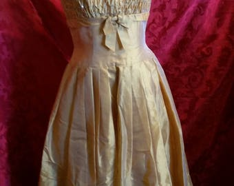 1960's party dress golden chiffon with rhinestones