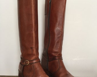 Womens brown leather zip up riding boot, size 8.5