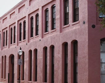 "Pink Building, Beautiful Architecture, Charleston USA, Travel Photography, Wall Art 8"" x 10"""