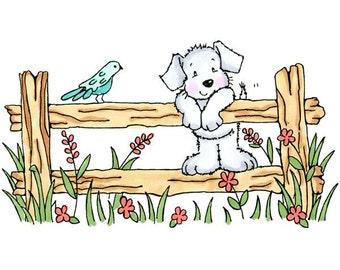 Great Impressions Cute Puppy on Fence H228