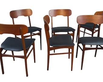 Six Teak Dining Chairs Mid Century Danish Modern