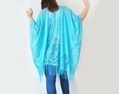 40%OFF Lace Kimono Boho Kimono Turquoise Blue Kimono Fringe Kimono Fringe Pareo Wife Gift Girlfriend Gift For Mom Valentines Day/ KIMONO