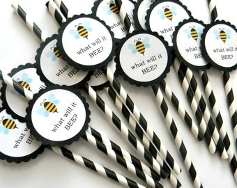 12 Bee Party Straws, What Will it Bee, Baby Shower, Gender Reveal, Bee Theme, Birthday Straws, Bee Reveal, It's a Boy, It's a Girl, Surprise