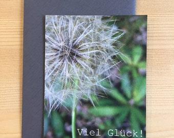 Greeting Card   Steam Flower   incl. Grey Envelope   Good luck!   Format DIN A7