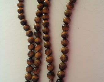 Vintage  Unsigned Tigers Eye Glass Beaded Necklace