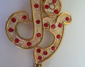 Vintage Unsigned Goldtone/Red Rhinestone Joy with Dangling Heart Brooch/Pin
