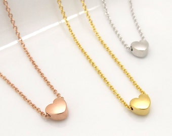 Tiny heart necklace , dainty heart necklace, rose gold heart necklace,bridesmaid gift, valentine gift for her mom sister auntie gift