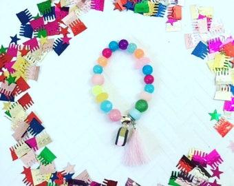 Girl's Personalized Bracelets, Ice Cream Bracelet, Personalized Girl's Beaded Bracelets, Kid's Tassel Bracelets, Girl's Charm Jewelry