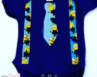 Boy's Blue Minion Bodysuit, Custom Minion Bodysuit, Boys Minion Custom Shirts, Kids Minion Shirt, Custom Minion Tee-Shirt, Babies Minion Top