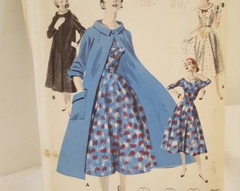 "1950's Vintage Butterick 7646 Sewing Pattern Misses' Dress with Coat Fabulous Full-Skirted Ensemble   34"" Bust 28"" Waist  37"" Hip  UNCUT"