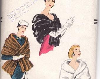 1950's Vintage Vogue 9055 Off the shoulder Fur Stole Wrap Cape Sewing Pattern