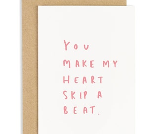 Heart Skips A Beat Valentine's Day Card - Anniversary Card - Valentines Card - CC195