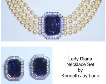Kenneth Jay Lane Princess Diana Pearl Necklace Set - S1977