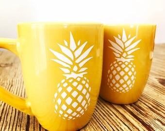Pineapple mugs, fun mugs, coffee mugs, tea mugs, pineapple decal mugs, summer mug
