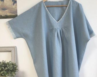Plus Sized Blue Linen Tunic Top
