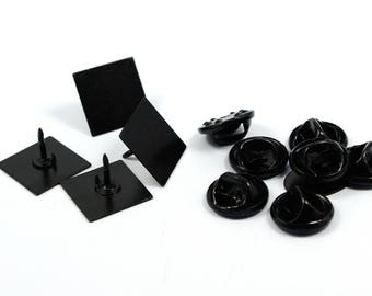 25 Pcs. ( Set ) Black Painted   13x13 mm Square Tie Tack Blanks  Findings