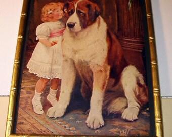 Arthur Elsley 1908 Girl St Bernard Dog Private and Confidential Original Rare Lithograph Print Wood Frame Wall Hanging Home Decor