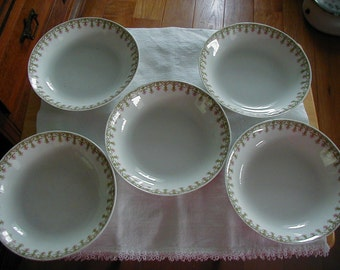 5 WONDERFUL FRANCE LIMOGES soup bowls measure 7 1/4 dia  .  Pink and green design would mix and match well with other Limoges designs.