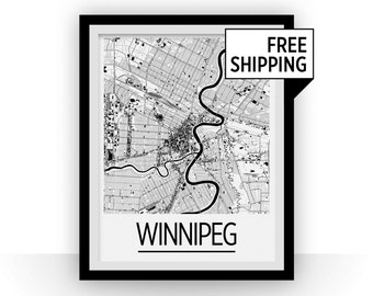 Winnipeg Map Poster - manitoba Map Print - Art Deco Series