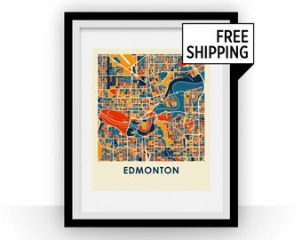 Edmonton Map Print - Full Color Map Poster