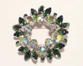 Juliana Green Navette and Aurora Borealis Chaton Large Wreath Brooch - Book Piece