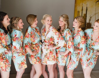 Floral Robes Set Of 2 Satin Robe Silk Bridesmaids