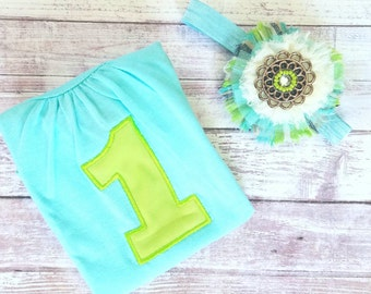 Ready to ship teal and lime shirt and headband