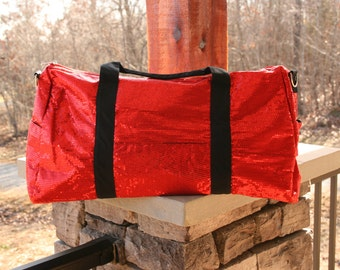 Red Sequined Duffel Dance Bag Cheer Duffle Bling