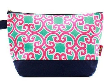Girls Monogrammed Cosmetic Pouch Make Up Bag Pink Mint Floral