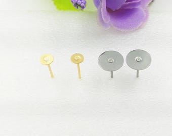 100pcs Surgical Stainless Steel Flat Pad Earring Studs with backs-Stainless Steel Earposts~Flat Back Earring Posts-Glue On Posts-N size